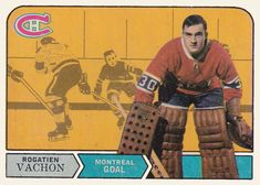 O-Pee-Chee Rogatien Vachon Front Hockey Goalie, Hockey Games, Ice Hockey, Montreal Canadiens, Nhl, Hockey Room, Goalie Mask, The Ch, Baseball Cards