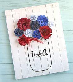 Red white blue mason jar craft. Mason jar craft for Memorial Day. Mason jar craft for Fourth of July. Patriotic mason jar craft ideas. Red white blue.