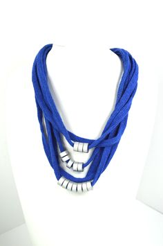 Short Necklaces : Blue Necklace Blue cotton cord embellished with handmade silver ceramic beads and wire. Detail: the metal clasp with crystals. Blue Necklace, Short Necklace, Ceramic Beads, Beads And Wire, Handmade Silver, Cord, Necklaces, Crystals, Detail