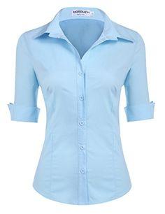 c868d44ed9cb5 HOTOUCH Damen Kurzarm Hemd Bluse Tops. Leicht ausgestellte Hemdbluse mit  klassischem Hemdkragen. 3/4 Ärmel Arbeitshemd mit dem Umlegekragen  einstellbare ...