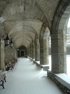 Cloisters at Bryn Mawr in winter