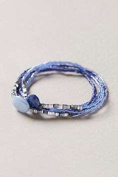 Blue and silver bead bracelt