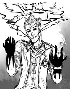 """artofshiroginko: """" Handsome Liar. Wanted to draw something spoopy and tried a new style """""""