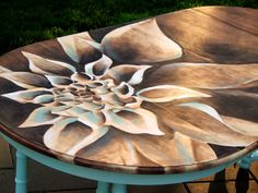 Make beautiful artwork on furniture by shading with STAIN! This flower is stained on the table top without using any paint whatsoever - and there's a video!