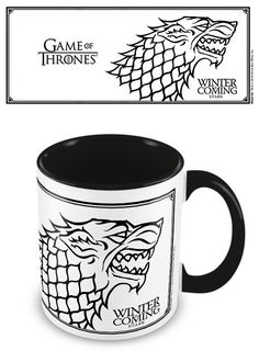 This Game of Thrones mug is great to start the day with - make your morning drink in this stunning white and black Stark mug. With a black inner and black handle, you are sure to enjoy your black coffee!* *Or any other drink you may wish to fill it with! Arte Game Of Thrones, Game Of Thrones Gifts, Coffee Mug Quotes, Coffee Mugs, Game Of Thrones Winter, Tin Lunch Boxes, Morning Drinks, Tea And Books, Black Coffee