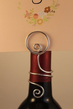 Wine Bottle Table Number Holder Wire Place Card by CharmedDetails,