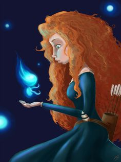 Merida [feat. Will O' The Wisps (x5)] (Drawing by FinalFlyFarArt @Etsy) #Brave