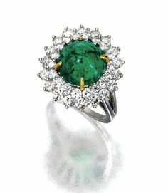 CABOCHON EMERALD AND DIAMOND RING, CARTIER