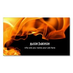 burning fire business card
