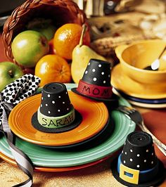 easy thanksgiving hats for children | Pilgrim hat place cards from little terra cotta pots – tutorial at ...