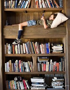 reading nook inside bookcase