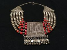 Yemen Silver and Mediterranean Coral Bridal Dowry Necklace with Filigree Amulet