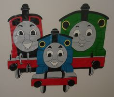 thomas the tank engine w percy james hand painted wallpaper mural. Black Bedroom Furniture Sets. Home Design Ideas
