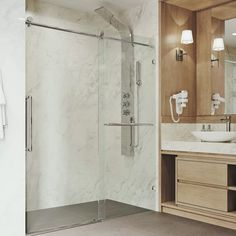 VIGO Ferrara W x H Single Sliding Frameless Shower Door RollerDisk™ Technology Finish: Stainless Steel