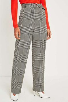 Slide View: 2: Light Before Dark Checked Oversize Puddle Trousers