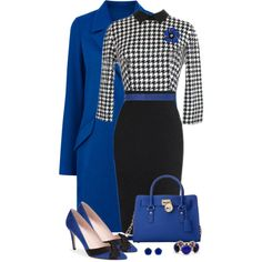 Houndstooth Dress by snickersmother on Polyvore featuring Oasis, Kate Spade, MICHAEL Michael Kors, Kendra Scott, Sinequanone and RGB