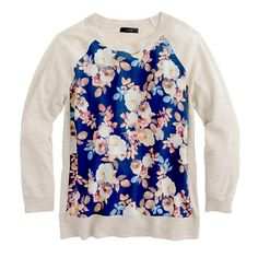 silk-paneled sweater / j.crew
