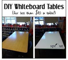 Idea for Craft Desk: Classroom DIY: Whiteboard Tables. Great guide on converting your wood tables into amazing whiteboard tables. Classroom Setup, Classroom Design, School Classroom, Future Classroom, Classroom Projects, Kindergarten Classroom, Art Classroom Layout, Creative Classroom Ideas, Biology Classroom Decorations