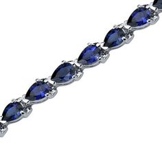 Magnificent Desire: Pear Shape Blue Sapphire Gemstone Bracelet in Sterling Silver Rhodium Finish Peora. Save 55 Off!. $149.99