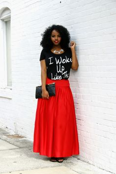 13bb9e45763 Holiday Style  Yonce Tee And Full Maxi Skirt