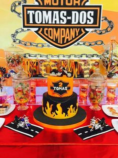 What an awesome cake at a motorcycle birthday party! See more party ideas at CatchMyParty.com!