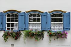 Three little windows all in a row - Janelas de Mariana - MG, BR (=) Window Boxes, Windows And Doors, Through The Window, Window Architecture, Window Design, Flower Window, Beautiful Doors, Doors, Shutters