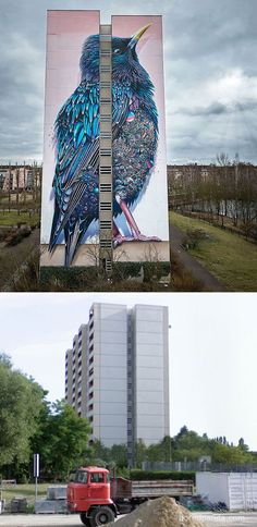 Close Up Super A And Collin Van Der Slujis Both Artists From - Building in berlin gets transformed by amazing 137 foot tall starling mural