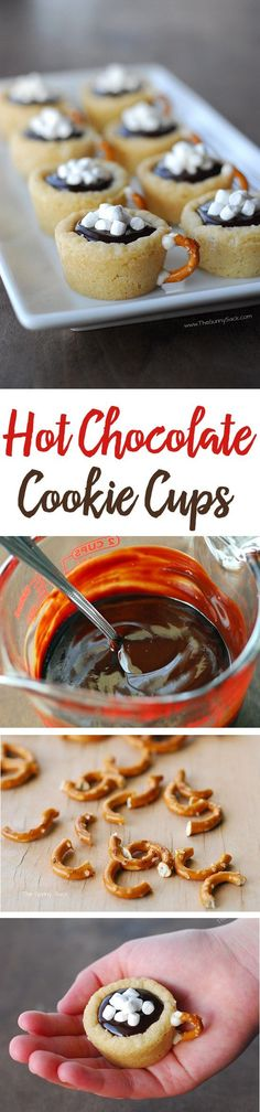 This easy cookie recipe for Hot Chocolate Cookie Cups is made with sugar cookies. They're filled with chocolate ganache and have a pretzel handle! (desserts with chocolate pudding cookie recipes) Holiday Cookies, Holiday Baking, Christmas Desserts, Christmas Baking, Easy Cookie Recipes, Baking Recipes, Dessert Recipes, Cookie Flavors, Simple Recipes