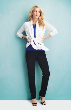 Pleated Cardigan Bateau Neck Top Classic Ponte Ankle Pant - Spring 2014