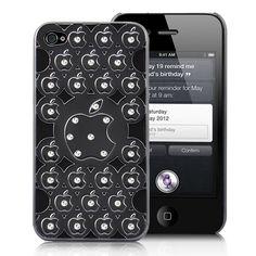 Apple Pattern Rhinestone Studded Hard Plastic Back Case Cover For iPhone 4S - Black