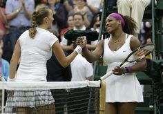 Serena Williams of the United States, right, is congratulated by Petra Kvitova of the Czech Republic after a quarterfinals match at the All England Lawn Tennis Championships at Wimbledon, England, Tuesday, July 3, 2012.