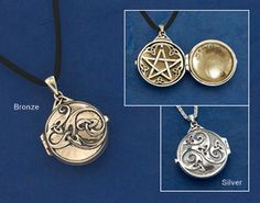 "Hidden Pentacle Locket A spirit message for you alone. To the world, this silver locket shows a triskelion of trinity knots. Inside finds a pentacle and space enough for a special charm - a stone, an herb, or a secret written message - so you can hold it near to your heart. Locket in bronze on 18"" satin cord or sterling silver on 18"" chain. Designed by noted Pagan artist Paul Borda."
