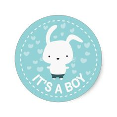It's a Boy Baby Shower Cute Kawaii Bunny Sticker