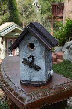 Rustic Handmade Birdhouse - Country Living - Home Garden - Wildlife Habitat - Dragonfly Hook - Decorative Yard Birdhouses - Gardening Supply