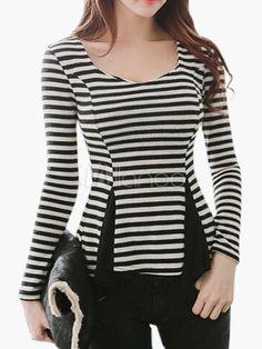 Black & branco listrado frente camiseta Slim Fit Split - Milanoo.com