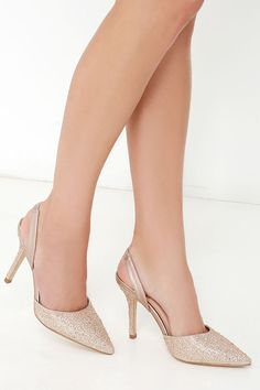 Majesty Nude Sparkle Slingback Rhinestone Heels