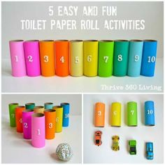 5 Easy Toilet Roll Activties. Good idea because it would be easy to make and it would be cheap. The kids would learn numbers and learn colors.