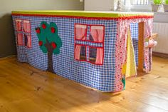 Long table playhouse - made from fabric - kids playroom