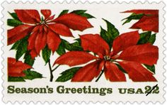 Here's the second stamp to feature the poinsettia, a plant almost wholly associated with Christmas. It was issued in 1985 in Nazareth, Michigan. The poinsettia originated in Mexico and has deep roots in Mexican legend.