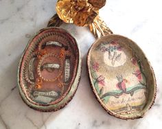 1800s antique French reliquary, 19th century French devotional object by histoireancienne on Etsy https://www.etsy.com/listing/227071537/1800s-antique-french-reliquary-19th