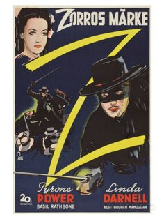 The Mark of Zorro, Swedish Movie Poster, 1940