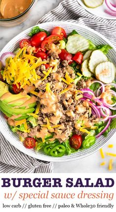 The ultimate Burger Salad with Special Sauce Dressing! Made with mustard flavored ground beef, all your favorite burger toppings, and then topped with a delicious homemade special sauce! Burger Toppings, Burger Salad, Salad Toppings, Cheese Salad, Paleo Burger, Burger Meat, Turkey Burgers, Veggie Burgers, Clean Eating Snacks
