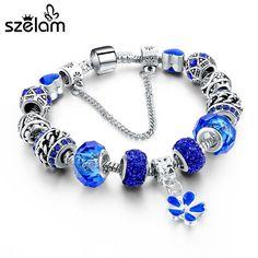 Mother's Day Silver Bracelets Bangles Flower Charms Blue Crystal Bracelets For Women