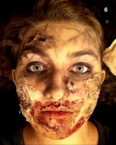 This tutorial shows you how to get a good zombie look without using anything you don't already have! For this makeup you'll need: -an eyeshadow pallet -red lipstick -foundation -q-tips -tissue -craft/paper/elmers glue -honey -red and green food coloring -cocoa powder