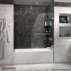 "DreamLine SHDR-3534586-01 Aqua Uno 34"" Frameless Tub Door, Clear 1/4"" Glass, Chrome Finish"