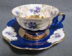 Winterling Cobalt Blue & Floral Tea Cup & Saucer