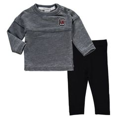 South Carolina Gamecocks chicka-d Girls Newborn & Infant French Terry Varsity Jersey Top and Leggings Set - Gray - $39.99