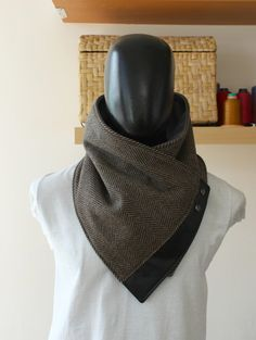 83f578720 Unisex scarf cowl Wide Black and brown herringbone by CheriDemeter Lista De  Deseos, Te Deseo