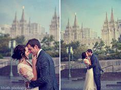 A cute different wedding/temple photo (Salt Lake Temple)