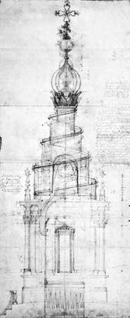 Saint Ivo della Sapienza: architectural drawing by Borromini